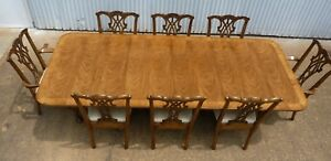 Ej Victor Dining Table 8 Chairs Chippendale Antique Almond 9 Long W Leaves