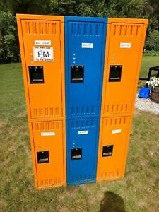 Orange N Blue Steel Gym School Athletic Industrial Metal Employee Lockers 3x3 7