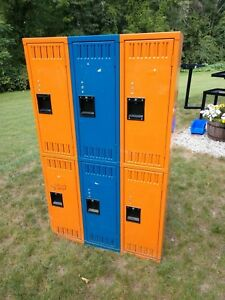Orange N Blue Steel Gym School Athletic Industrial Metal Employee Lockers 3x3 5