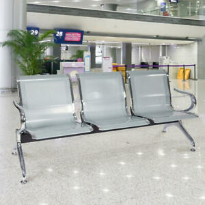 3 Seat Heavy Duty Office Airport Waiting Chair Reception Salon Barber Bench