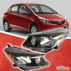 Fits 2012 To 2014 Toyota Yaris Hatchback Headlights Black Houising Headlamp Set