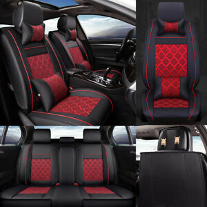 Car Seat Covers W 4 Pillows Deluxe Leather Front rear Seat Cushion Mat Full Set
