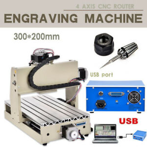 Usb 300w 4 Axis Cnc Router 3020 Engraver Drilling Mill Desktop Machine 3d Cutter