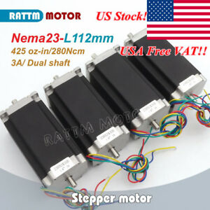 us Stock 4p Dual Shaft Nema23 Stepper Motor 112mm 425oz in 3a For Cnc Engraving