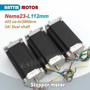 3pcs Dual Shaft Nema23 Stepping Motor 112mm 425oz in 3a For Cnc Milling Machine