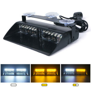 Xprite 16 Led Windshield Strobe Lights Bar In dash Emergency Warning Hazard Lamp