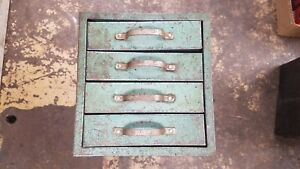 Vintage Quality Mid Century Industrial Metal Storage Bin Cabinet With 4 Drawers