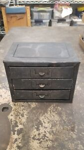 Vintage Quality Mid Century Industrial Metal Storage Bin Cabinet With 3 Drawers