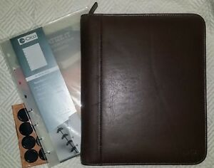 Levenger All Leather Zipper Folio Planner Office Travel 2 Sets Covers