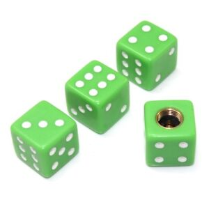 4 Lime Green Dice Tire Wheel Stem Valve Caps For Car Truck Hot Rod Van Suv