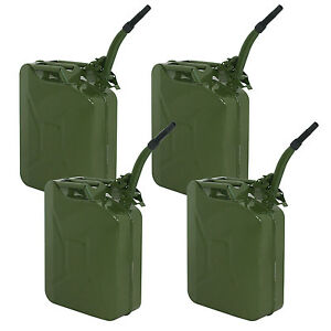 4x Jerry Can With 20l Liter 5 Gallons Steel Tank Fuel Gasoline Green