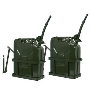 2xjerry Can With Holder 20l Liter 5 Gallons Steel Tank Fuel Gasoline Green