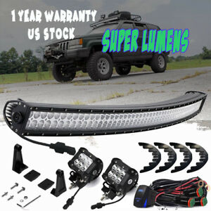93 98 Jeep Grand Cherokee Zj Street Legal 50 Curved Led Offroad Light Bar Combo