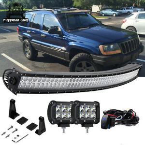 50 Curved Offroad Led Light Bar Kit Jeep Grand Cherokee Wk Upper Roof Windshield