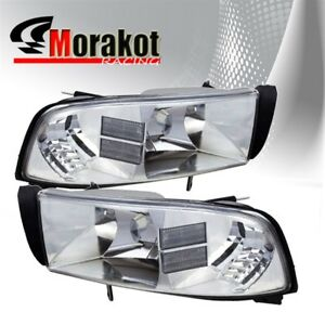 For 94 01 Dodge Ram 1 Piece Chrome Housing Headlight Clear Corner Reflector Lamp
