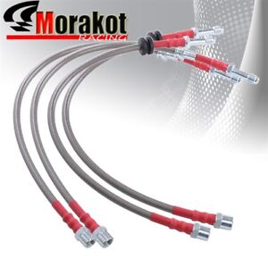 Bmw E46 3 series Stainless Steel Front Rear Oil Brake Line Kit Silver red Cap