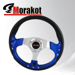 Universal Jdm 320mm Racing Fusion Style 6 Bolt Steering Wheel Blue Horn Button