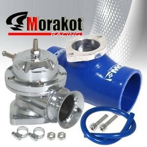Chrome Silver Type Rs Bov Blow Off Valve 2 5 Inch Blue Silicone Coupler Adapter
