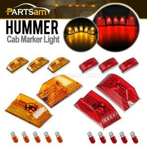 5pcs Red 5pcs Amber Lens Roof Clearance Marker Lights W bulbs For 03 09 Hummer