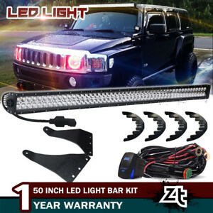 For Hummer H3 50 Straight Led Light Bar upper Roof Brackets W plug play Wiring