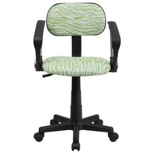 Swivel Task Chair Green White Zebra Print Home Office Furniture Contoured Seat