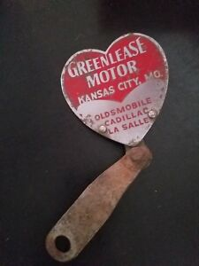 Greenlease Motors License Plate Topper Olds Cadillac Lasalle 1930s Kc Mo