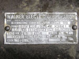 Vtg Wagner Electric Motor 1 3 Hp 1725 Rpm Phase Frame 57 Usa Tool Machine 110 Ac