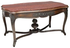 Antique French Louis Xv Style Marble Top Foyer Table Desk Dk Oak Drawer Library