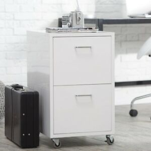 White File Cabinet Home Office Furniture Rolling Metal Small 2 Drawer Filing