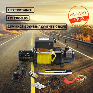 Electric Recovery Synthetic Winch Trailer Towing Truck Off Road Atv 12v 13000lb
