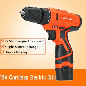 12v Cordless Electric Drill Rechargeable Li battery W 2 Batteries 2 Speed