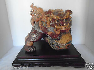 1948 Japanese 10 1 2 Showa Period Kutani Shishi Foo Dog Lion Statue