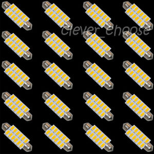 100x 42mm 5730 12smd Led Bulbs Interior Dome Light Warmwhite 1 72 Festoon 3423