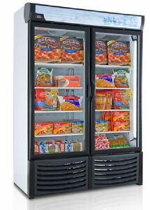 New Commercial 2 Glass Door Display Freezer For Frozen Food Led Lights 120v