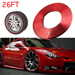 8m Glossy Red Car Wheel Hub Rim Trim Tire Ring Guard Rubber Strip Protector