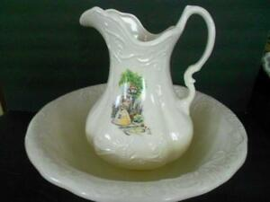 Antique Ironstone Wash Basin Pitcher White W Victorian Lady 16