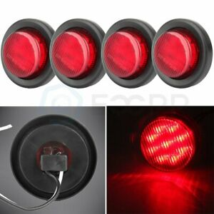 4x Red 2 Inch 9 Led Round Truck Trailer Side Marker Clearance Light Grommet 12v