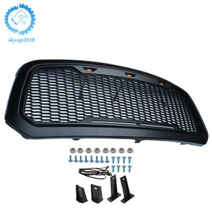 Abs Grille Matte Black Raptor Style W Led Light For 13 18 Dodge Ram 1500