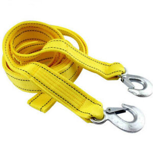 Heavy Duty 5 Tons 13ft Car Tow Rope Cable Towing Strap With Hooks Emergency