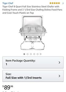 Tiger Chef 8 Quart Full Size Stainless Steel Chafer 3 1 3rd Size Chafing Food On