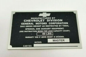 Chevrolet Chevy 1 2 Ton Pickup Truck Identification Plate 1939 1941 Non Stamped