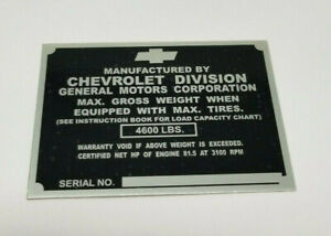 Chevy 1 2 Ton Truck Identification Tag For Left Door Post 1947 1949 Non Stamped