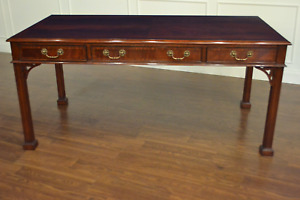 Leighton Hall Mahogany Chippendale Writing Desk Library Desk
