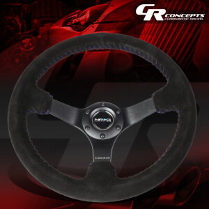 Nrg Reinforced 350mm 3 deep Dish Blue Stitch Suede Steering Wheel Replacement