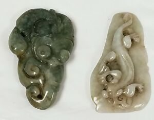 2 Chinese Jade Jadeite Carved Pendants