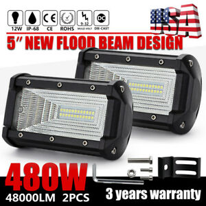 2x 5inch 480w Flood Led Car Off Road Work Light Bar Fog Driving Drl Lamp 12v 24v