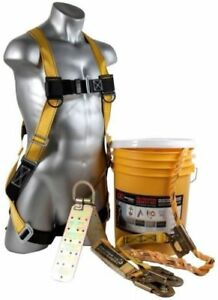 Fall Protection Safety Kit Full body Harness Temper Anchor 50 Vertical Lifeline