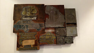 Vintage Letterpress Printing Wood Block And Metal Plates Lot Of 10