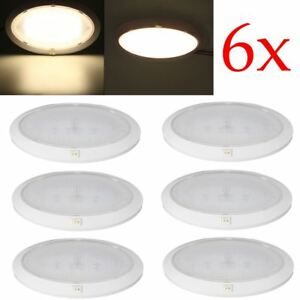 6pcs Led Round Roof Pancake Dome Light Interior Ceiling Lamp Rv Car Trailer Boat
