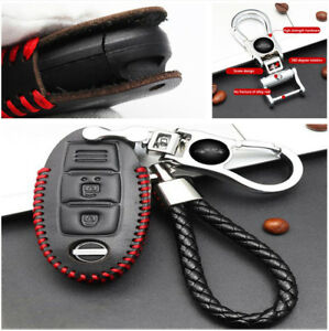 Car Remote Key Case Black Look Red Line Winding 360 Rotate Key Chain For Nissan